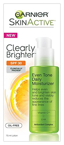 Oil Free Moisturizer Sunscreen - Garnier SkinActive Clearly Brighter SPF 30 Face Moisturizer with Vitamin C, 2.5 Ounces