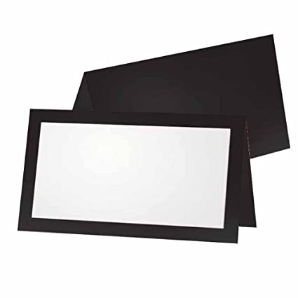 Black Place Cards Flat Or Tent 10 Or 50 Pack White