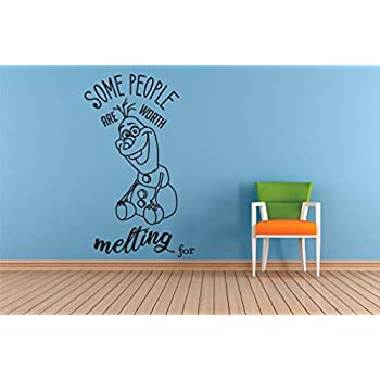 Worth Melting For Olaf Quotes Frozen Wall Decals For Kids Rooms Let It Go Decor Girls Children Creative Animated Vinyl Decal Stickers for Bedrooms Artwork Child Favorite Decoration Size (10x8 inch)