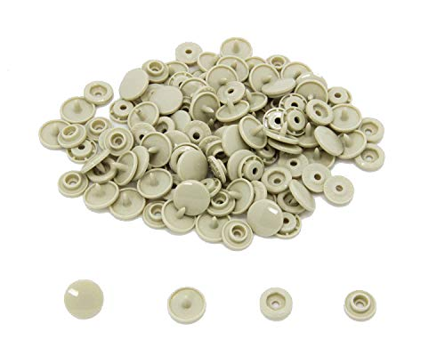 200 KAM Size 20 T5 Resin Plastic Snaps Buttons for Baby Bib Cloth Diaper (B23 - Light Tan)