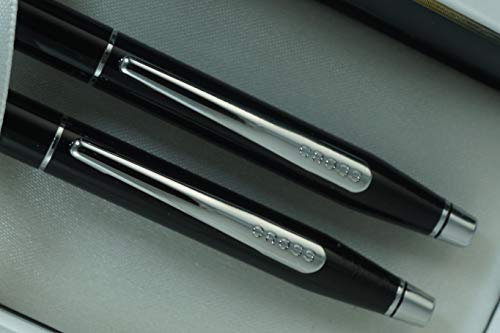 Cross Limited Edition Century Classic Black Lacquer, Polished Appointments with Cross Signature Center Ring Pen and 0.7MM Pencil Set