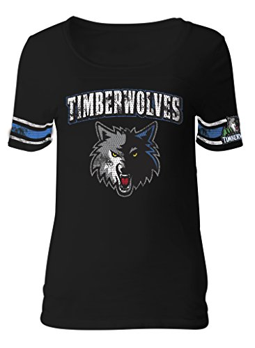 NBA Minnesota Timberwolves Adult Women Ladies Baby Jersey Short sleeve with Printed sleeve stripes,S,black