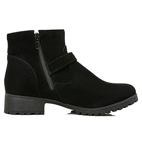 Ankle Boots Flat with Materail Black Large Short Boots SJJH Women Nubuck Size and Nice FgwBFTq