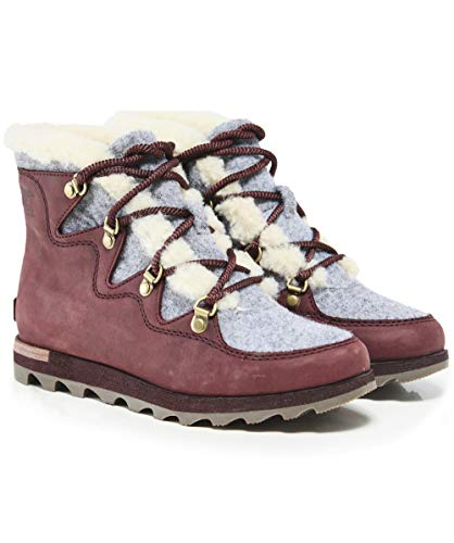 (SOREL Women's Sneakchic Alpine Booties, Cattail, Red, Brown, 9 M US)