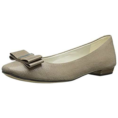 Anne Klein Women's Enticed Fabric Ballet Flat, Taupe, 9.5 M US