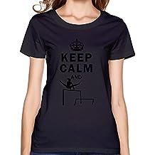 FQZX Women's Keep Calm Do Uneven Bars T Shirt Large Black