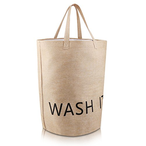Amalb Laundry Hamper Laundry Basket Natural Linen 19.7 Inch Large Size Storage Bag With Handle (Tall Linen Closet)