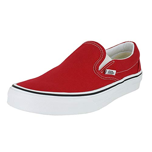 Vans Mens U Clasic Slip ON RED True White Size 8 (Red Vans Shoes Men)