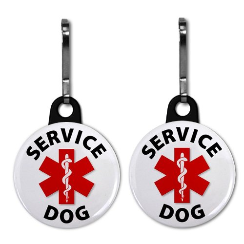 SERVICE DOG Medical Alert 2-Pack 1 inch Zipper Pull Charms (Service Dog Jewelry)