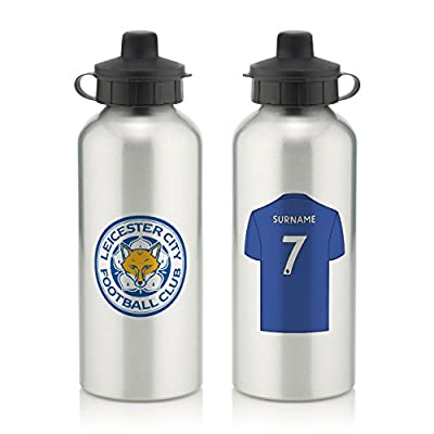 Official Personalized Leicester City FC Aluminium Silver Water Bottle with Spring Hook (600ml) - Free Personalization