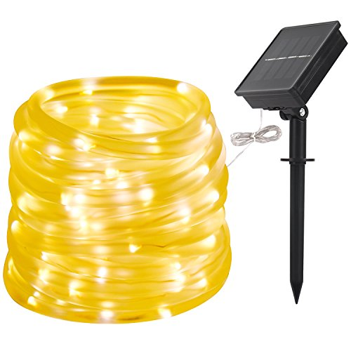 LTE Solar LED String Light Solar Powered Rope light Waterproof IP55 Warm White 3000K 33ft 100 LEDs, Decoration Light for Gardens, Patios, Homes, Parties - Plastic Solar Powered Lights