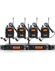 XTUGA RW2080 Rocket Audio Sistema de monitor de oído inalámbrico de metal, 2 canales, 4 bodypacks de monitoreo con auriculares tipo inalámbrico utilizado para escenario o estudio (frecuencia 902-928 MHz)