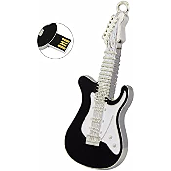 CHUYI Funny and Novelty Metal Guitar Shape 8GB USB 2.0 Flash Drive Jump Drive Waterproof Pen Drive Memory Stick Data Storage Thumb Drive U Disk with Key Ring Gift (Black and White)