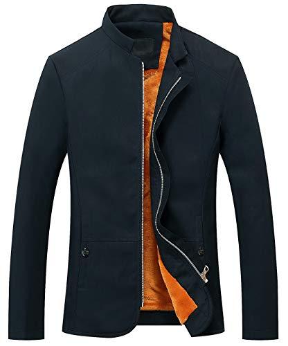 chouyatou Men's Vintage Banded Collar Zip-Front Lightweigth Cotton Casual Jacket