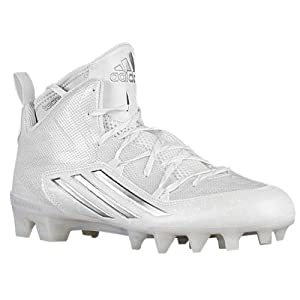 adidas Men's Crazyquick 2.0 Mid Football Cleats (12.5, White/Platinum/White)