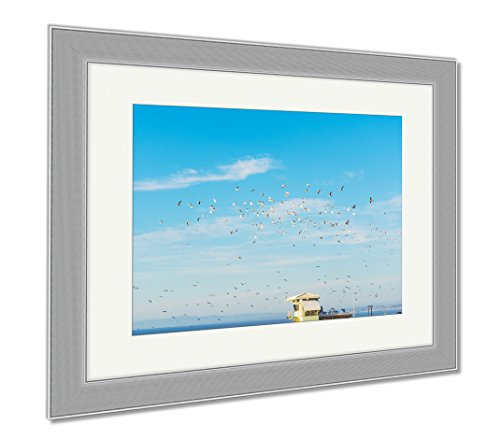 Ashley Framed Prints Flock Of Seagulls Flying Over A Lifeguard Hut In La Jolla Beach California, Wall Art Home Decoration, Color, 30x35 (frame size), Silver Frame, - Hut Catalog