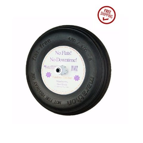 Marathon 15.5'' Solid Flat Kart Tire 4.80/4.00-8 Ribbed 3/4'' ID and 6'' Hub by Centered Hub