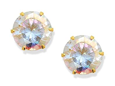 9ct Gold Lilac CZ Oval stud Earrings Gift Boxed Studs Made in UK