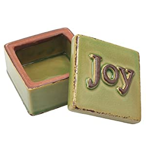 Stonebriar Worn Olive Joy Ceramic Trinket Box, Decorative Keepsake Box, Small Jewelry Holder for Rings, Earrings, and Necklaces, Unique Pill Box, Thoughtful Gift Idea for Friends and Family