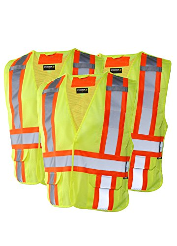 Vest Safety Away Tear (Terra 11-6523-YLLXL/3 High-Visibility 5 Point Tear Away Reflective Safety Vest (3 Pack), Yellow, Large/X-Large)
