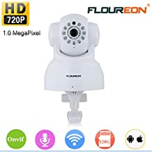 FLOUREON 720P Wireless Security IP WIFI Camera Pan/Tilt Baby Pet Monitor Cams 2.4GHZ Network P2P Night Vision Motion Detect Phone APP Control for Remote Access and View /Video Record (White)