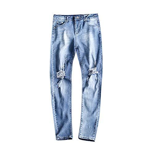 conqueror Jeans Slim Men Hole Zipper Denim Pantalon effiloch Maigre Pantalon dchir Bleu