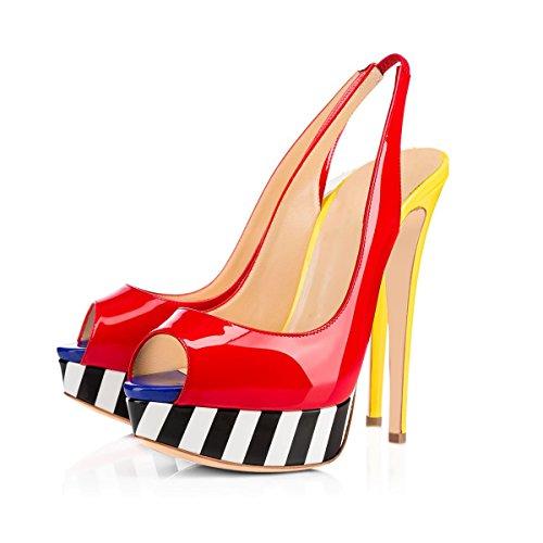 Onlymaker Vrouwen Peep Toe Slingback Hoge Hak Pompen Stiletto Sandals Red Door Gele
