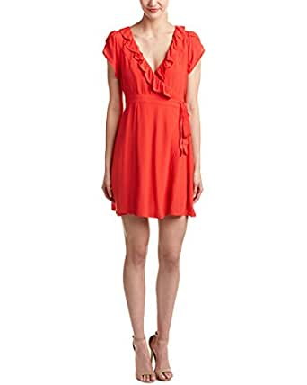 Minkpink Womens Ruffle-Trim Wrap Dress, Xs, Red