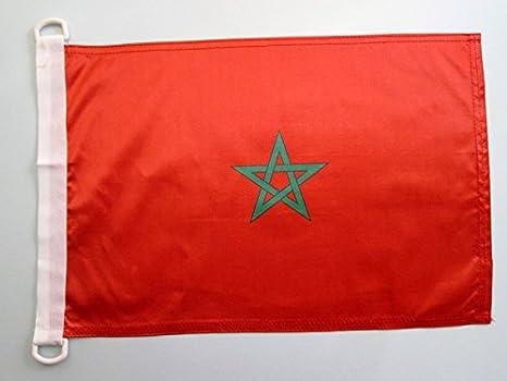 AZ FLAG Bandera Nautica de Marruecos 45x30cm - Pabellón de conveniencia MARROQUÍ 30 x 45 cm Anillos: Amazon.es: Jardín