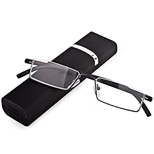 Lightweight Flexible Half Frame Reading Glasses Pocket Readers Portable Semi Rimless Eyeglasses Eyewear with Case for Men Women (Matt Black, 3.0 X)