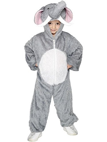 Smiffy's Children's Unisex All In One Elephant Costume, Jumpsuit with Tail and Trunk, Party Animals, Ages 7-9, Color: Grey, (M Party Costumes)