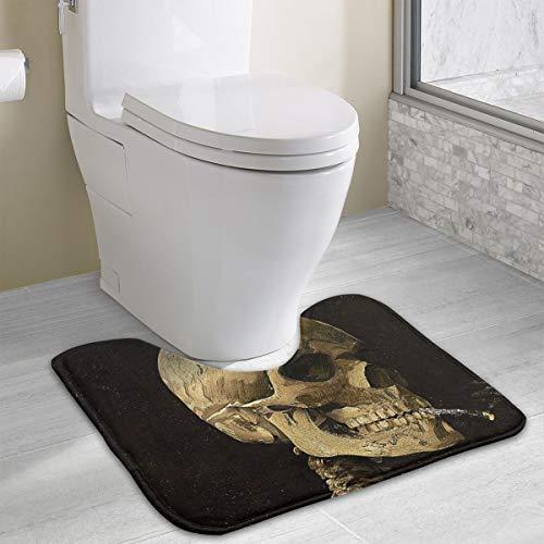 Star River Death Skeleton Bone Cute Bath Toilet Rug Mats for Bathroom U Shaped Carpet,Machine Washable Non-Slip Floor Toilet Mat