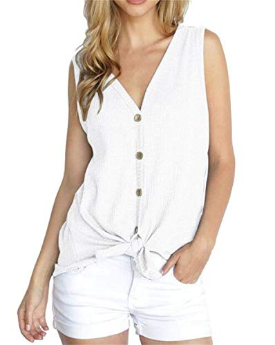 PCEAIIH Womens Loose Henley Blouse Sleeveless Button Down T Shirts Tie Front Knot Tops ()