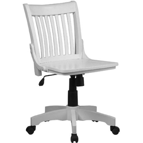 Deluxe Armless Wood Bankers Chair with Wood Seat in White Finish OSP_101WHT by FF Design (Armless Chair Bankers Wood)