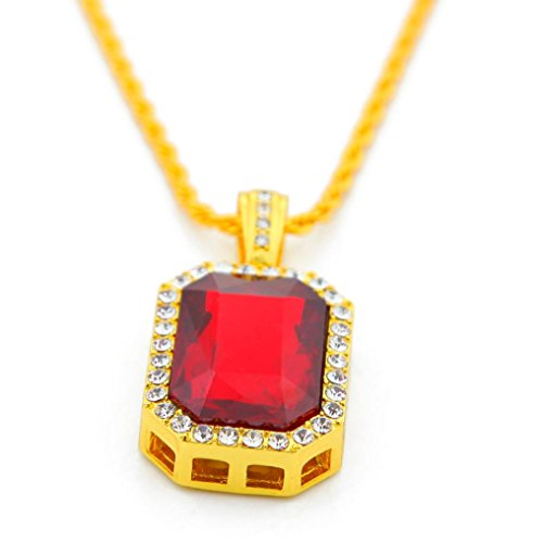 Ikevan 2017 1 PC Plated Iced Out Black Octagon Ruby Pendant Necklace (Red)