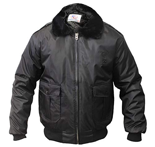 (First Class 100% Nylon Oxford Watch-Guard Bomber Jacket (Black)-4XL)