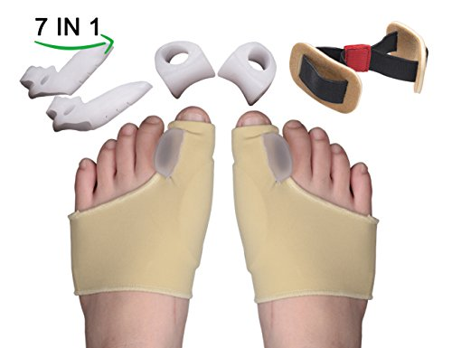 Yumay 7 in 1 Bunion Splint & Bunion Corrector & Bunion Relief Protector Sleeves Kit,Bunion Pads for Foot Health Care,Toe Separators Spacers Straighteners-Relief Pain in Hallux Vagus,Big Toe.