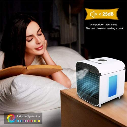 Nifogo Air Portable Cooler - Mobile Air Conditioners, 3 in 1 Mini Personal Space Cooler & Humidifier & Purifier with 7 Colors LED Lights, Leakproof, New Filter Paper (White)