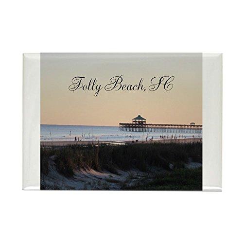 CafePress Folly Beach, SC Pier Rectangle Magnet, 2
