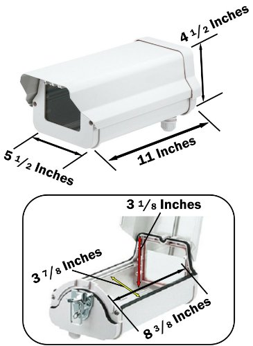 (3-Pack)of 11 Inch Security Camera Housing Enclosures & 10'' Arm Brackets for Outdoor CCTV Brick Style Surveillance Camera