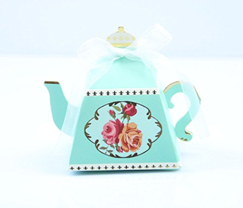 IGBBLOVE 50PCS Teapot Candy Box Candy Wedding Favor Boxes Baby shower favor Party Box -Light BLUE , 50 PACK