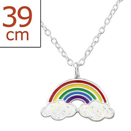 Best Wing Jewelry .925 Sterling Silver ''Rainbow and Unicorn'' Set Necklace and Stud Earrings for Children and Teens by Best Wing Children's Earrings (Image #2)