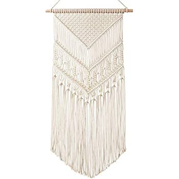 Mkono Macrame Wall Hanging Art Woven Boho Home Décor, Geometric Beautiful Wall Art for Apartment, Dorm Room Decoration, 17