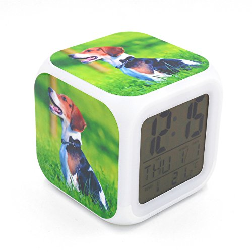 Boyan Led Alarm Clock Beagle Dog Animal Design Creative Desk Table Clock Glowing Electric Led Digital Alarm Clock for Unisex Adults Kids Toy Gift by Boyan