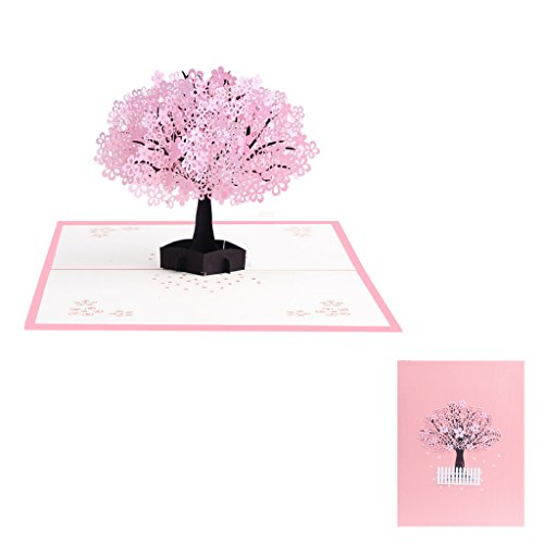 Cherry Laser Paper (BecauseOf Valentines Day Gift, 3D Pop Up Cherry Blossoms Greeting Card for Saint Valentines Birthday New Year)