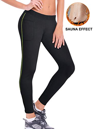 Pneacimi Womens Weight Loss Neoprene Leggings Thermo Slimming Pants Sauna Trousers with Zip & Pockets