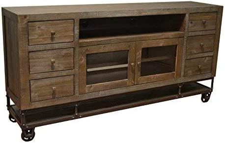 Crafters Weavers Greenview 76 Inch Forged Iron Base Tv Stand