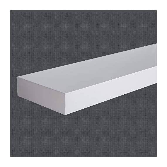 """INART White Floating Shelves Wall Mounted Display Ledge Storage Shelf, Easy To Install, Set of 3 (5.9"""" Deep) - DECORATIVE WALL SHELF: Decorative and functional for your home, office, or dorm room; use to display vases, small pictures and more HIGH QUALITY: Made of lightweight and high quality MDF. These wall shelves are fits in any room WALL MOUNTED SHELF DIMENSION: 14.9 in W x 1.3 in H x 5.9 in D - wall-shelves, living-room-furniture, living-room - 41 42xxm9TL. SS570  -"""