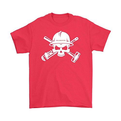 - Awesome eMERCHency Oilfield Shirts Halliburton Logo Skull In Helmet Mens T-Shirt (Red, S)