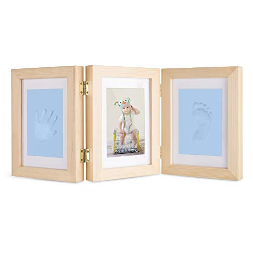 Baby Hand and Footprint Maker, Solid Wood Picture Frame Keepsake Kit with Clay Shower Gifts for Newborn Girls and Boys, Pet Paw Print ()